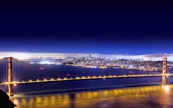 мост, город, золотистый