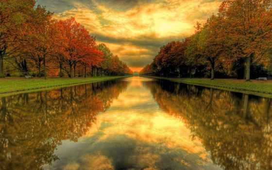 осень, water, канал