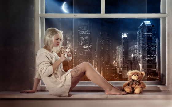 девушка, окно, город, cup, окна, toy, ночь,