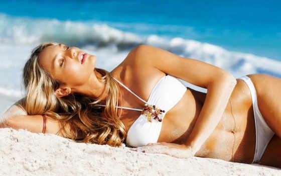 пляже, девушка, мот