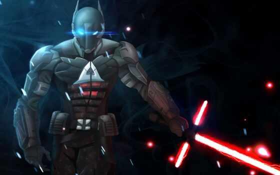 arkham, рыцарь, batman, шлем, lightsaber, сила, art, gera