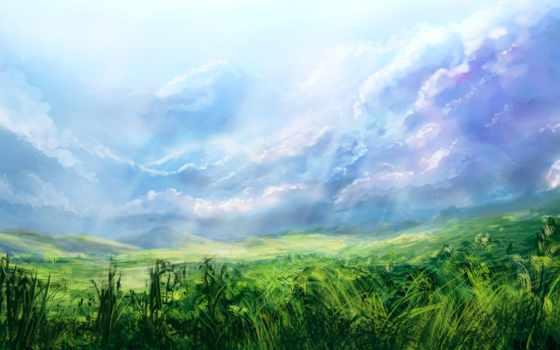 небо, трава Фон № 32259 разрешение 1920x1080