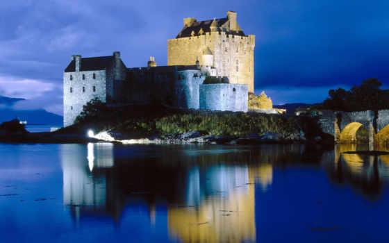 castle, eilean, донан, замoк, эйлен, шотландия, острове,