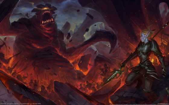 огонь, monster, kingdoms, amalur, армия, эльф, reckoning, битва, chaos,
