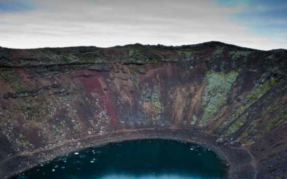 iceland, озеро, kerio, горы, вулкан, desktop,