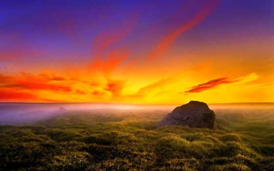 закат, небо, distance, трава, огонь, oblaka, plain, море, cvety, фоны, горизонт,