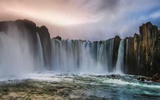 ,водопад, горы