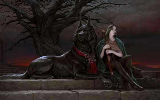 собаки, девушка, большой, сидит, мечом, близко, ступеньках, руках, милитари, коллекция,