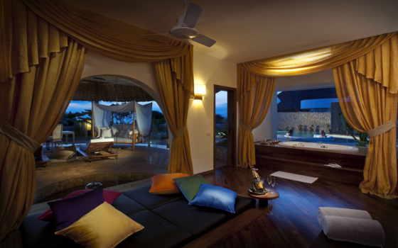 джакузи, ванная, комната, интерьер, разноцветные, подушки, окна, большие, шторы, желтые, два,