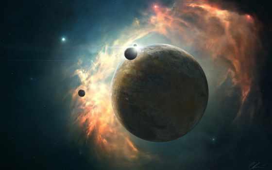 planet, cosmos, art, звезды, nebula, свечение, спутники, планеты, energy,