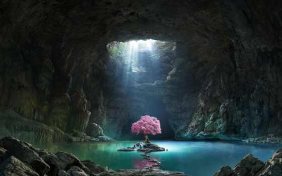 озеро, пещера, коллекция, pin, campground, дерево