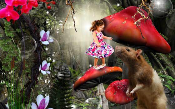 лес, mushroom, enchanted