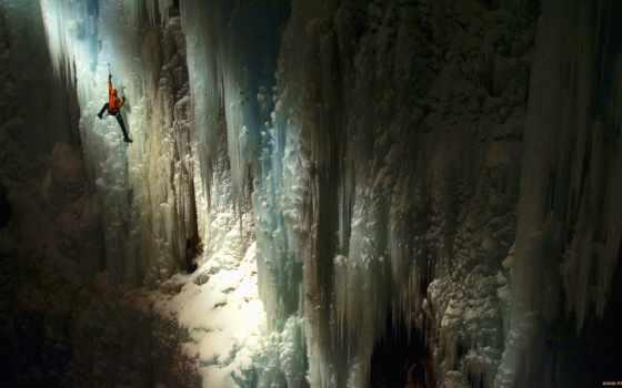 пещера, climber, свет, стены, rays, purpose, пещере, спорт, гладь, лед, обстановка,