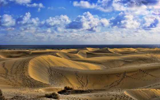 песок, пустыня, oblaka