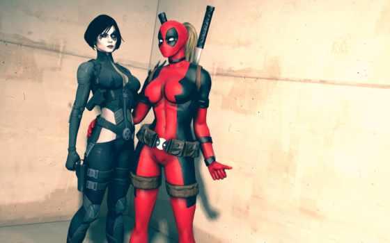 deadpool, lady, marvel, comics, neena, домино, thurman, костюмы, devushki, назад, скачивания,