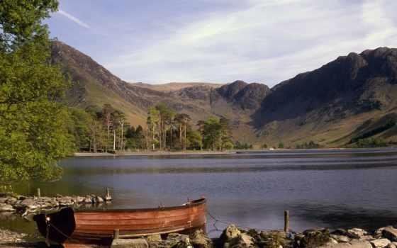пейзажи -, slayt, geniş, лодка, ekran, slaytyerim, doğa, indir, скалистый, озера,