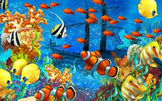 bottom, морское, рыбы, корабль, море, кораллы,