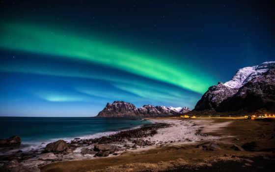 сияние, северное, горы, море, берег, norwegian,