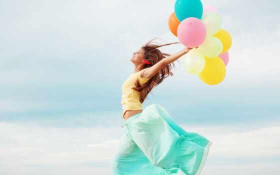 девушка, воздушными, шариками
