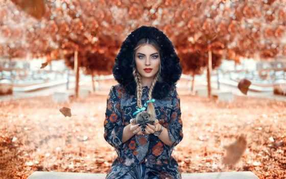 девушка, ежик, осень, cicco, ди, alessandro, ежики, осенней, листве,