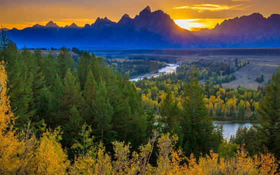 река, осень, лес