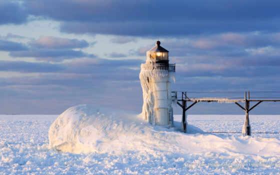 lighthouse, winter, christmas, michigan, canvas, купить, живопись, art, frozen, cheap,