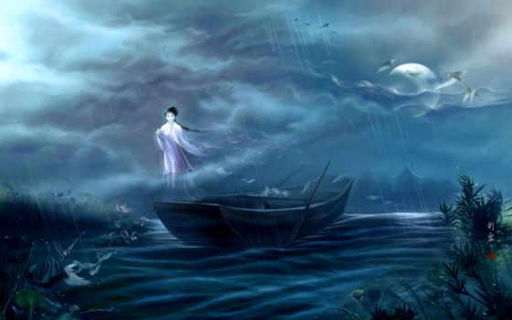 девушка, дождь, журавли, луна, небе, ghost, парит, со, лодкой, парят,