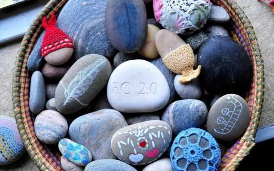 разрисованные, камни, разукрашенные, цветные, вязание,
