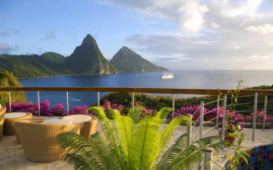 hotel, море, спа, карибском, люсия, jade, гора, маунтин, карибского, джейд,