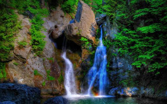 водопад, гора, природа, water, falls