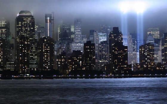 нью, york, город, небоскрёб, ночь, центр, world, commercial, manhettnyi, свет, сентябрь