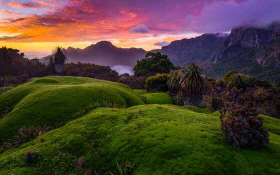 priroda, красивый, gora, awesome, zakat, телефон, пейзаж, print, фон, дерево, holm