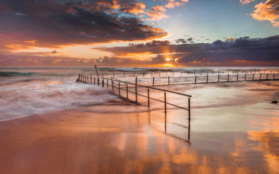 море, облака, волны, небо, пляж, цепи, солнце, ограда, австралия, океан, картинка,