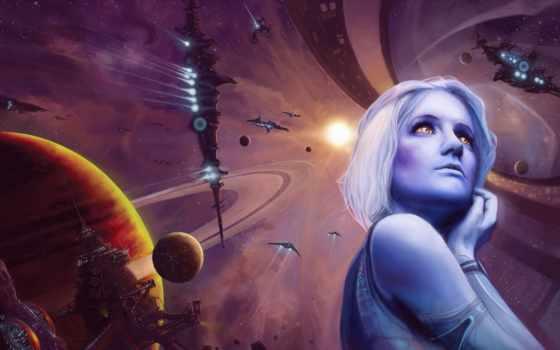 космос, девушка, планеты