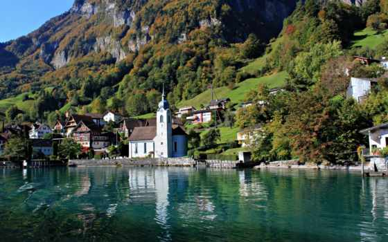 gooollll, озеро, швейцария, горы, high, landscape, şehir, resolution,