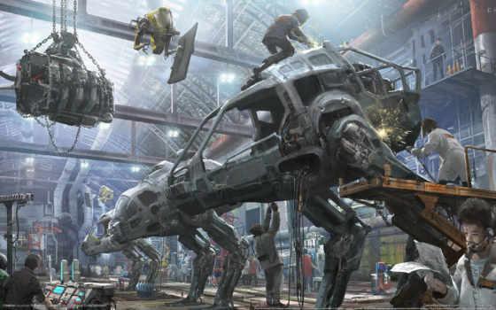 hawken, art, игры, игре, concept, обзор, shooter, robot, люди, ангар,