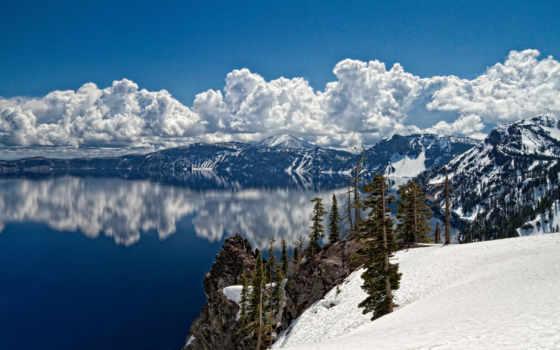 landscape, winter, trees, озеро, зимние, горы, пейзажи -, красивые, снег,