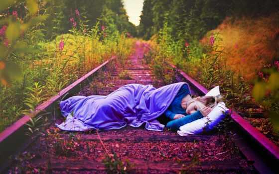 девушка, спит, дороги, заброшенных, cvety, рельсах, images, guste, краям, железных, путях,