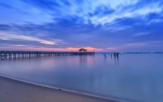 virginia, пляж, elevation, usa, pier, ночь, песок, clouds, рассвет, восход,