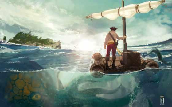 море, мужчина, art