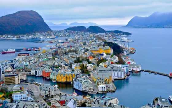 alesund, норвегия, горы