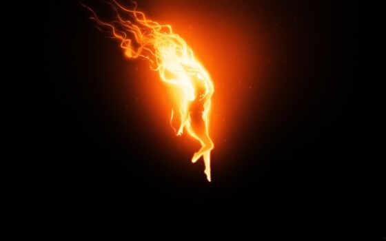 огонь, девушка, пламя