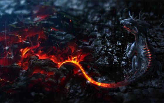 огонь, дракон, fantasy