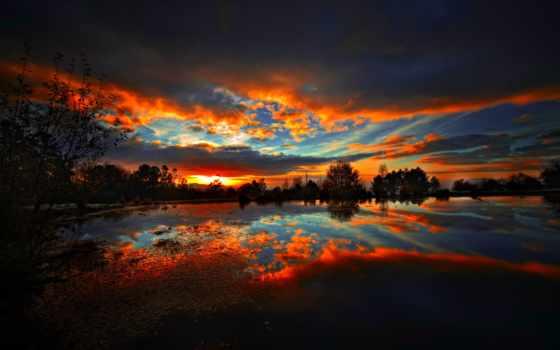 вечер, лес, water, природа, совершенно, озеро, категория, небо, rewalls, trees, отражение,