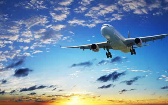 небо, oblaka, самолёт, закат, полет, лайнер,
