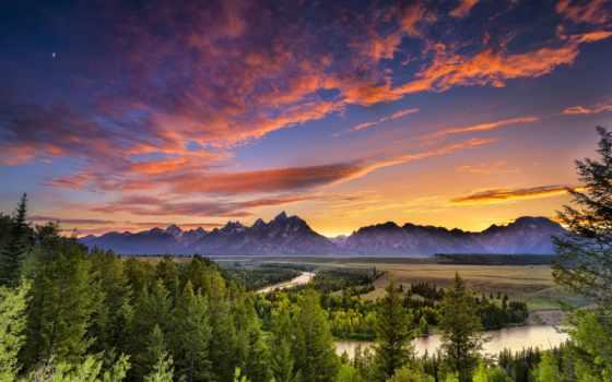 teton, grand, wyoming, река, national, snake, park, сша, usa, landscape, закат,