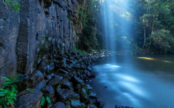 камни, водопад, tapety, reservoir, скалы, лес, июнь, trees,
