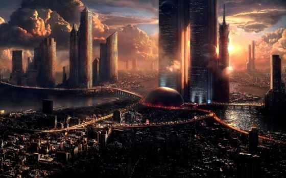 pantalla, fondos, futuristas, para, ciudad, ciudades, gratis, con, descarga,