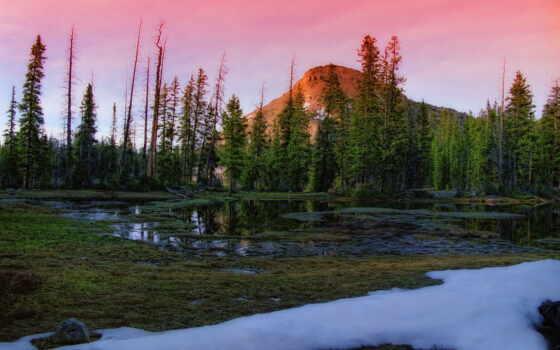 гора, desktop, весна, снег, mountains, природа, alpine, winter, thawing,