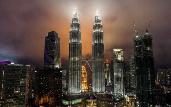 город, огни, ночь, башня, prirodoznavstvo, malaysia, club